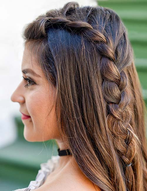 3. Side French Braid Accent
