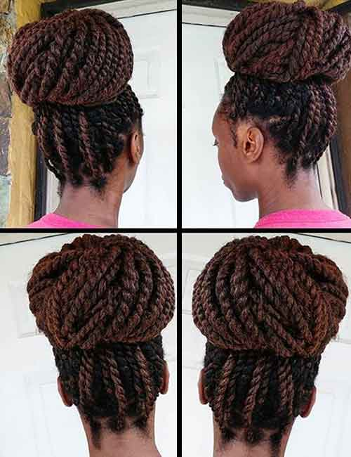 4. Brown Kinky Twists In A High Bun