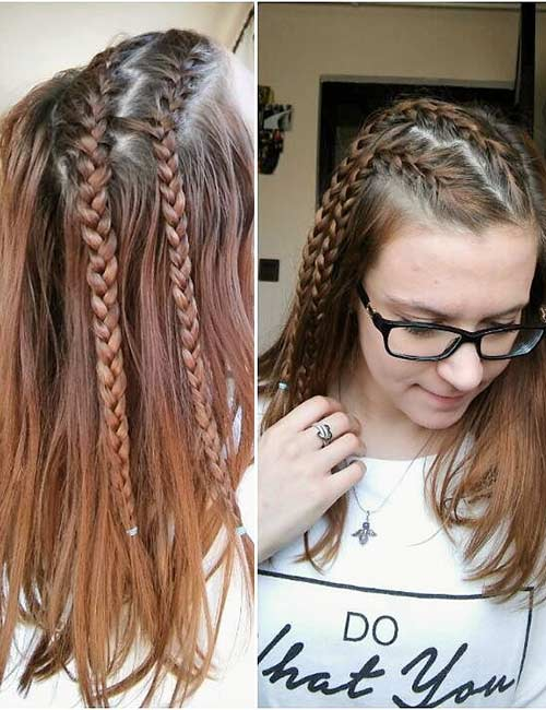 4. Double Side French Braid Accents