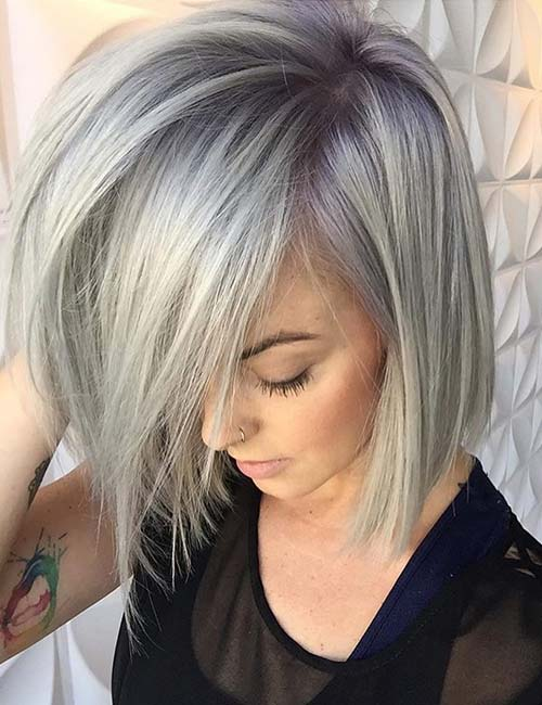 4. Long Side-Swept Bangs On A Sterling Bob