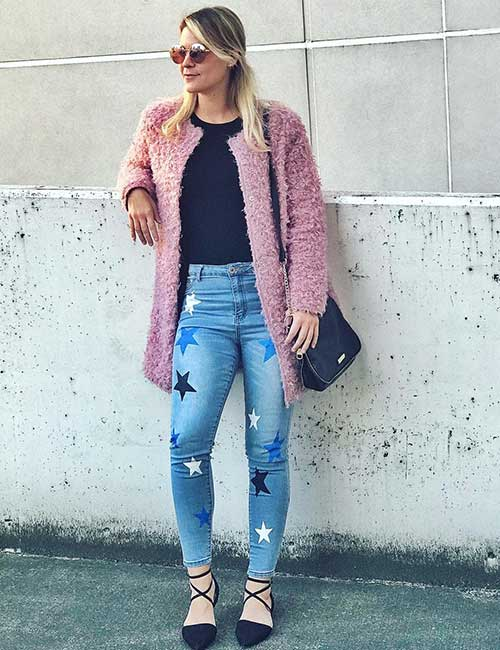 High Waisted Jeans - Printed High Waisted Jeans With A Chunky Fur Sweater