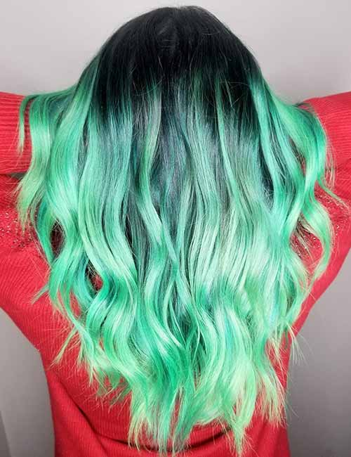 5. Mint Green Ombre On Dark Hair
