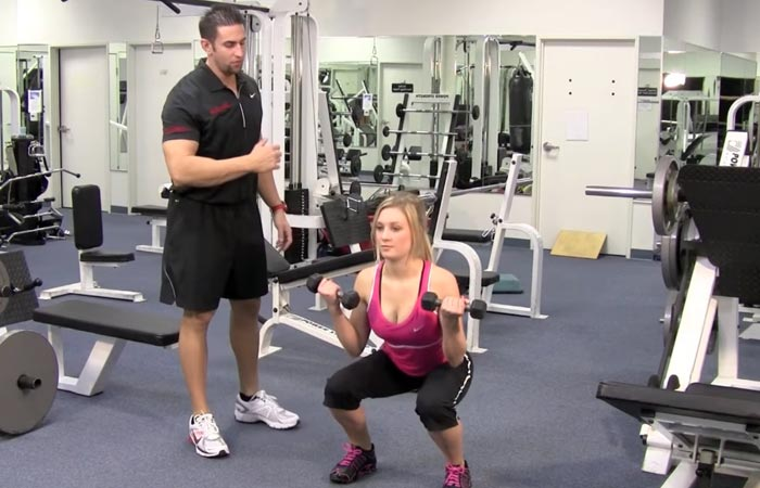 How To Do Squats - Squat With Bicep Curls