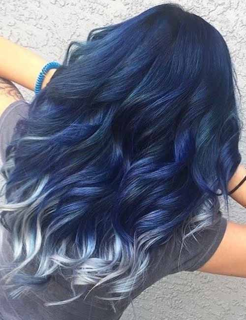 7. Blue Ombre With Frosted Tips