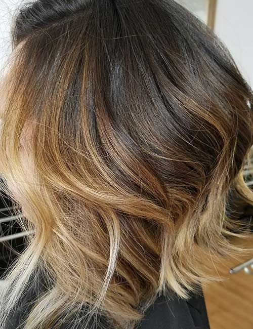 8. Balayage And Stacked Long Bob
