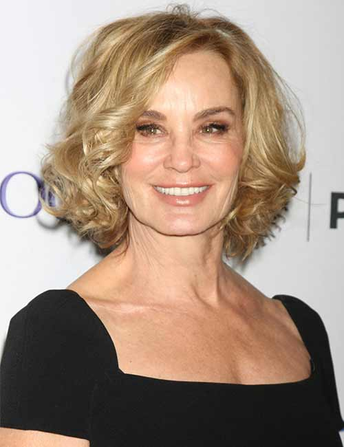 8. Curly Golden Blonde Bob
