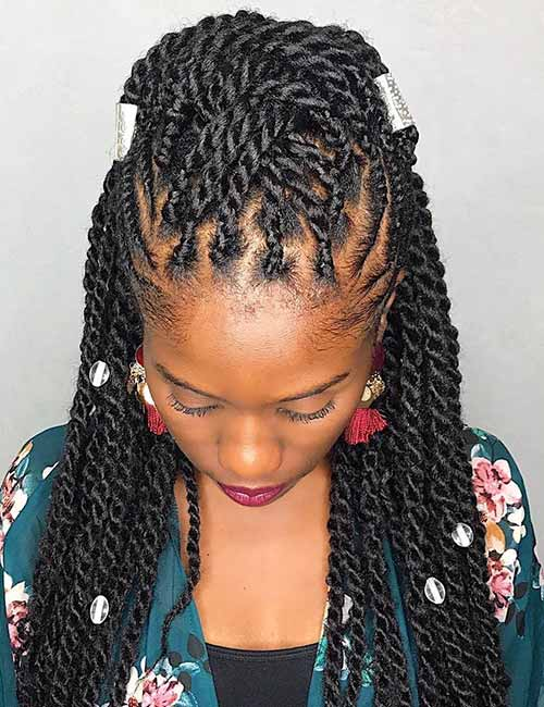 8. Kinky Twists With Silver Beads Accents
