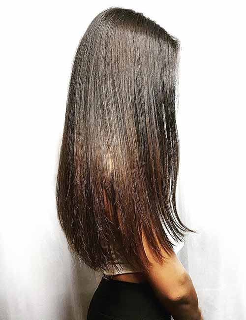 8. Subtle Ombre Fade On Dark Hair