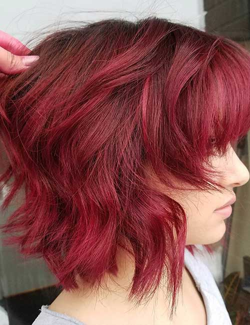 9. Wavy Cherry Stack With Bangs