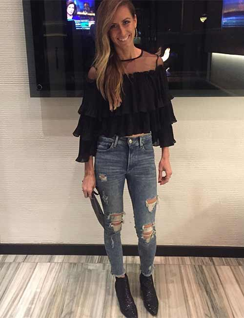 9. With A Black Ruffle Top