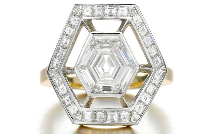 Unique Engagement Rings - Hexagon Studded With Diamonds