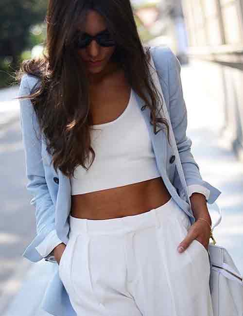 Denim Shirt Outfit Ideas - With A White Pant Suit