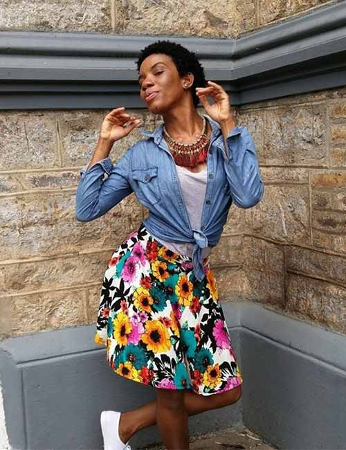 Denim Shirt Outfit Ideas - With A Floral A-Line Skirt