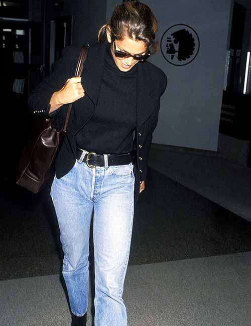 Style Your Mom Jeans - With A Black Turtleneck And A Jacket