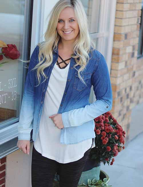Denim Shirt Outfit Ideas - With Black Jeans (Ombre Denim Shirt)