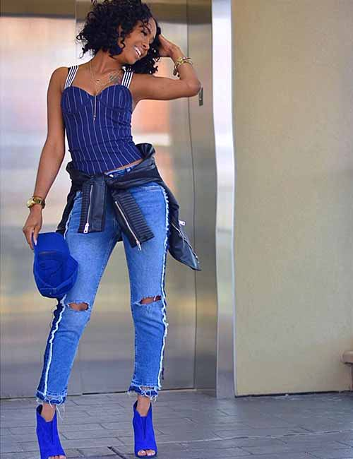 ff7c787236 Style Your Mom Jeans - Tapered Mom Jeans With A Bodycon Top And Boots