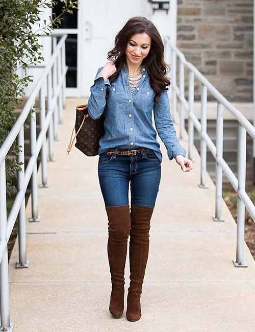Denim Shirt Outfit Ideas - With Skinny Jeans And Knee Length Boots