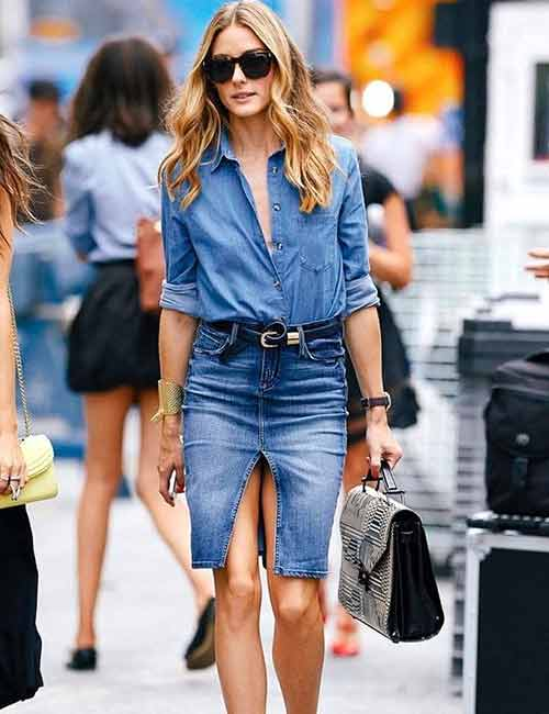 Denim Shirt Outfits Idea - With A Center Slit Denim Skirt