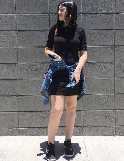 Denim Shirt Outfit Ideas - With A One Piece T-Shirt Dress