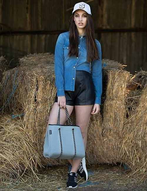 Denim Shirt Outfits Idea - With Leather Hot Pants