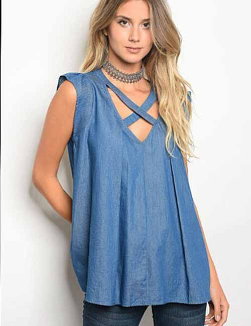 6a930559b6 Denim Shirt Outfits Idea - Criss Cross Chambray Tunic Top With Jeggings