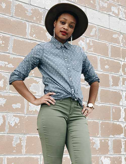 Denim Shirt Outfit Ideas - Polka Dots Denim Shirt With Faded Jeans