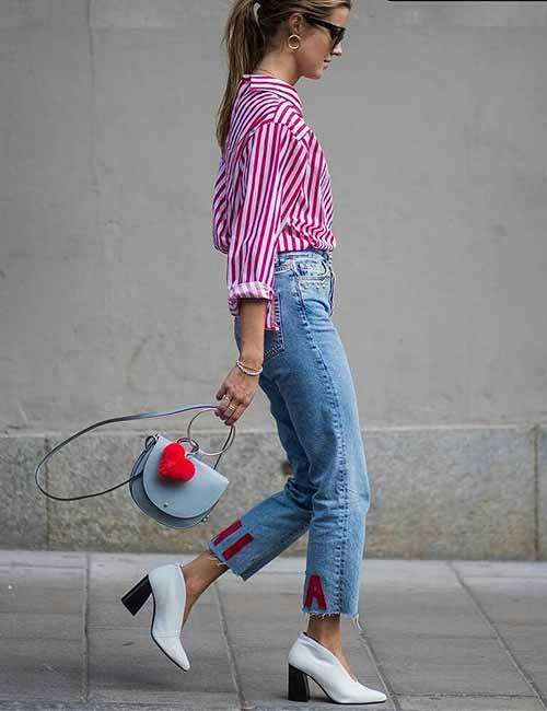 Style Your Mom Jeans - With A Pink Striped Shirt