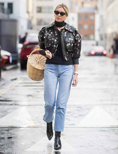 Style Your Mom Jeans - With A Floral Biker Jacket