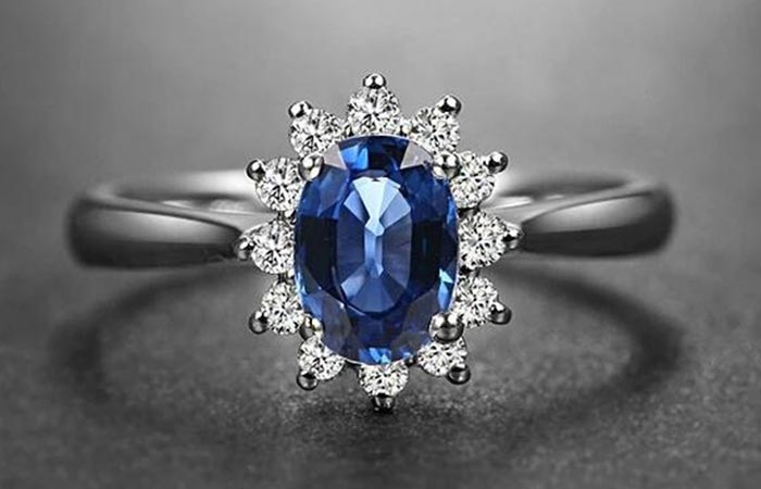 Unique Engagement Rings - Blue Sapphire Ring With Diamonds
