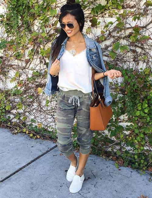 Ways To Wear Joggers - Camo Joggers And A Denim Jacket
