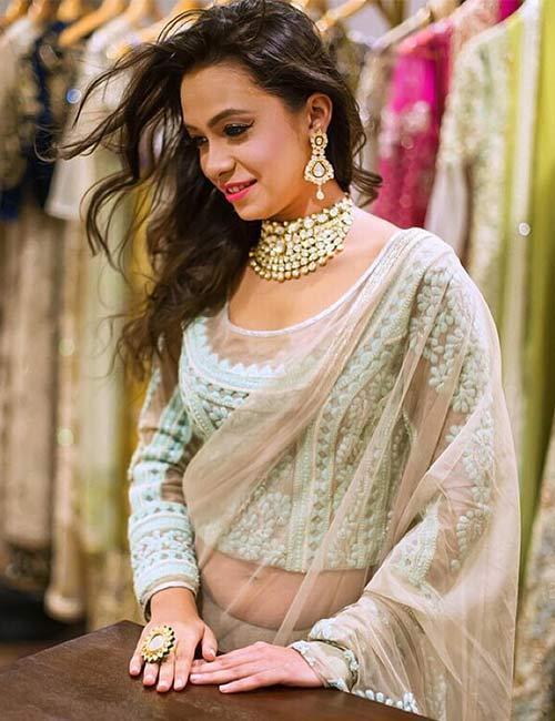 3. The Glamorous Sheer Saree