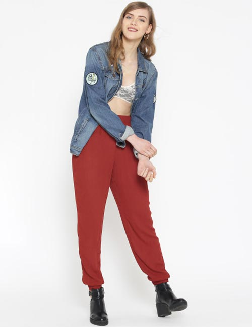 4. Red Joggers With Denim Jacket