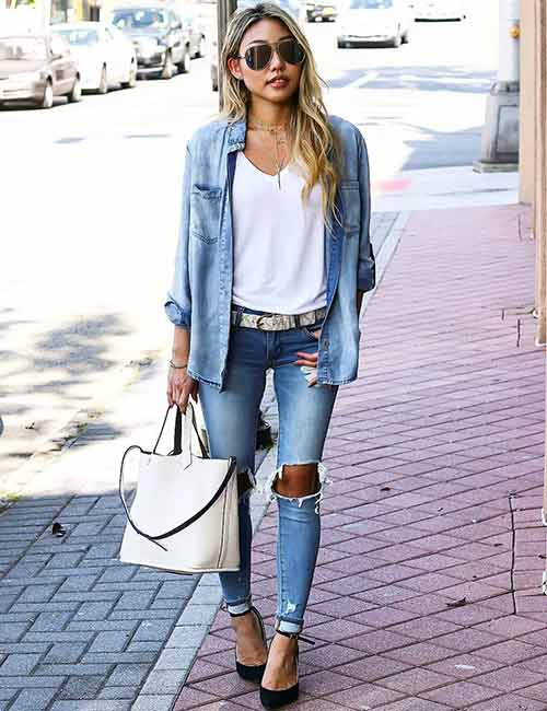 Denim Shirt Outfit Ideas - With Distressed Denims