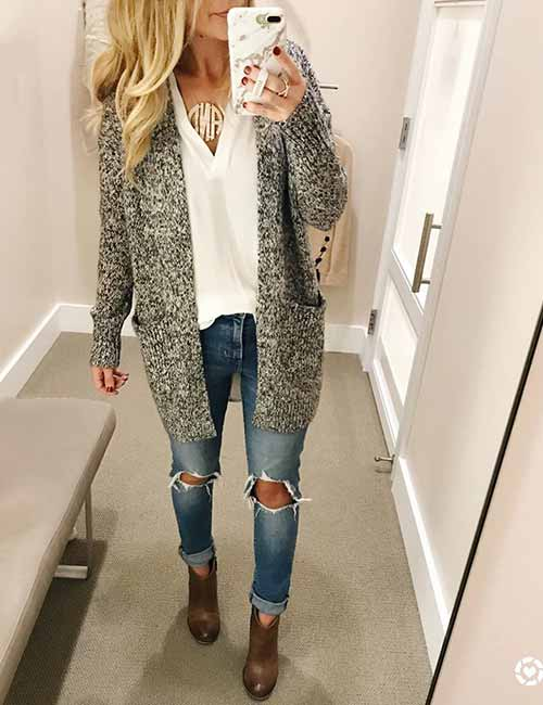 Style Your Mom Jeans - With Ripped Skinny Mom Jeans And A Woolen Cardigan