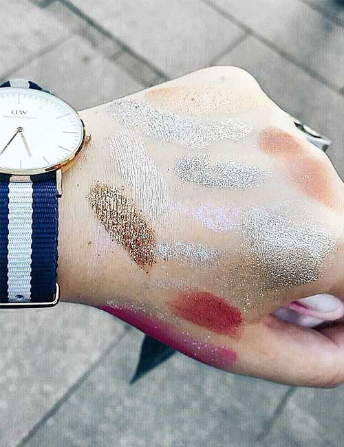 5. Picking that one shade from a hand covered in swatches.
