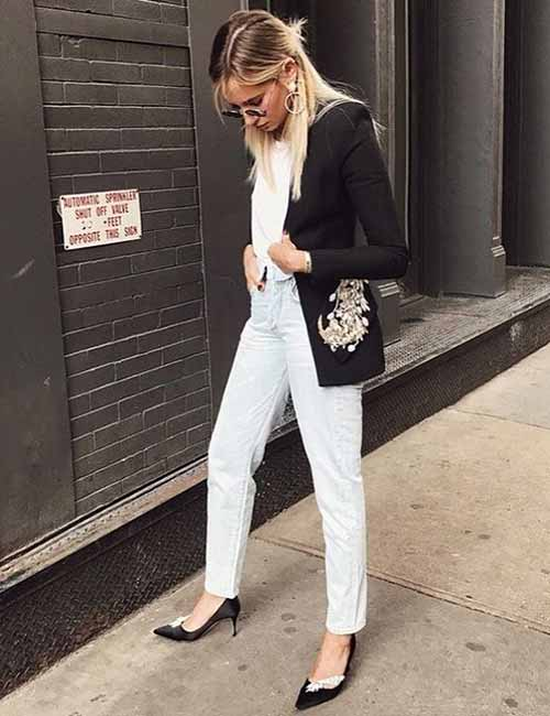 Style Your Mom Jeans - White Wash Jeans With A Blazer