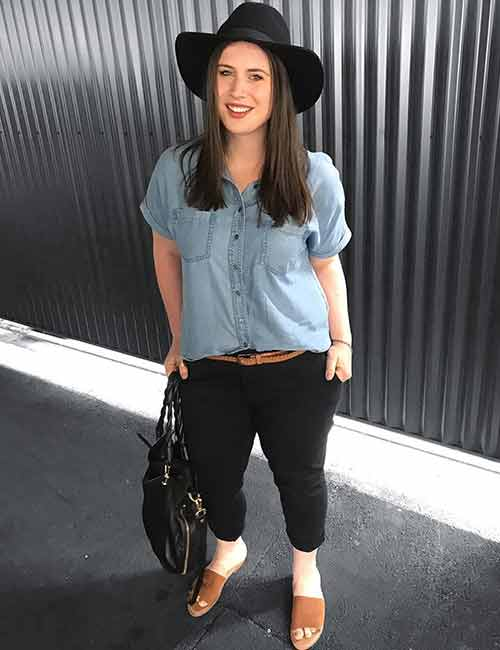 Denim Shirt Outfit Ideas - With Black Jeans