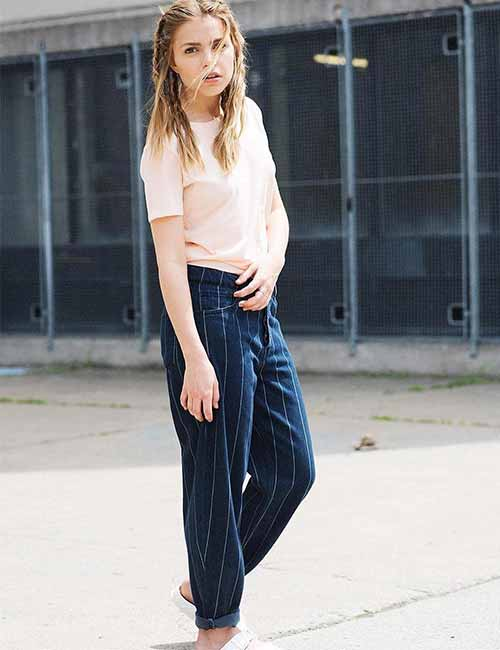 Style Your Mom Jeans - Old School Striped Baggy Jeans