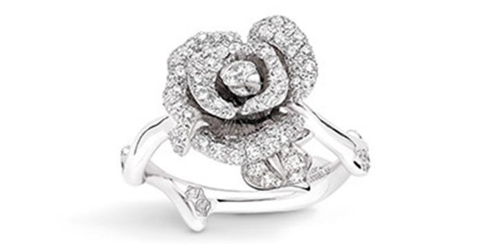 Unique Engagement Rings - Rose Shaped Diamond Ring
