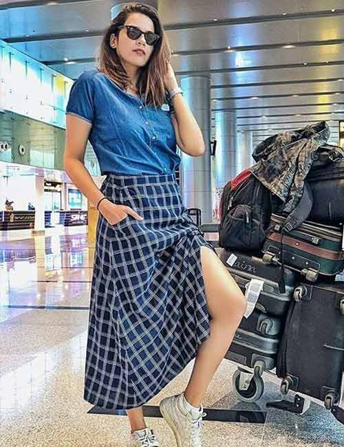 Denim Shirt Outfit Ideas - With A Long Slit Skirt