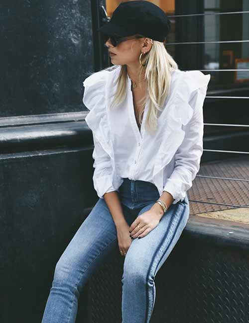 Style Your Mom Jeans - With A Ruffled Shirt, Baseball Cap And Hoops