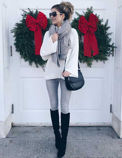 Style Knee High Boots - With Faded Jeggings