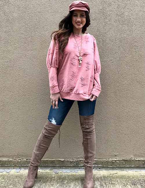 Style Knee High Boots - With Denims And An Oversized Sweater