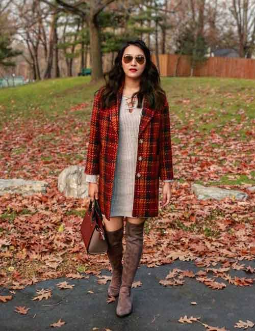 Style Knee High Boots - With A Long Checkered Jacket