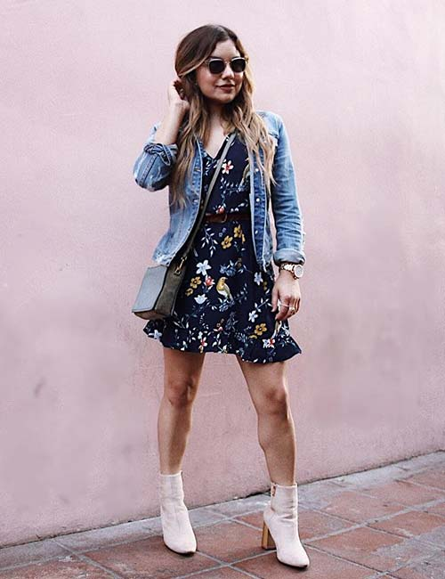 13. Short Floral Dress And Boots
