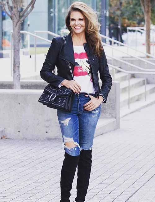 Style Knee High Boots - With Distressed Denim