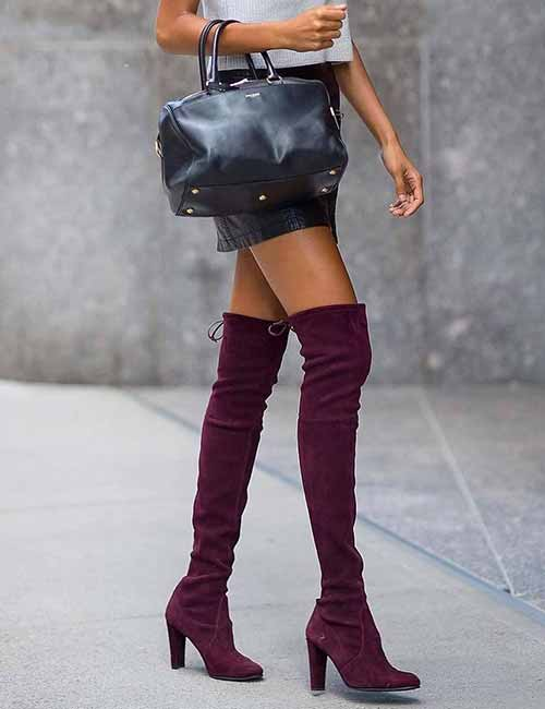 Style Knee High Boots - Suede Knee-high Boots With A Mini Skirt