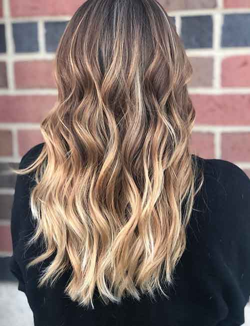 Blonde Balayage - Peach Toned Blonde Balayage