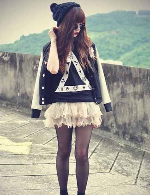 Korean Fashion - Ruffled Pink Skirt And A Graphic Tee