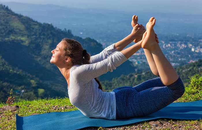 how to get periods faster - Dhanurasana